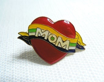 Deadstock - Never Worn - Vintage 80s - Mom - Heart Tattoo - Cute / Kawaii Enamel Pin / Button / Pinback