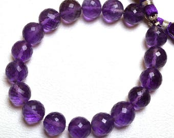 Natural Gem 6.5 Inch  Beautiful,Superb,Finest Quality  Dark Purple Amethyst  FACETED Round Balls beads  Briolette 9  To 10 mm size