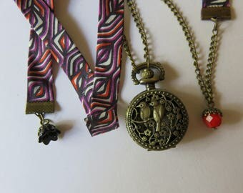 Red Liberty Birds Pocket Watch necklace