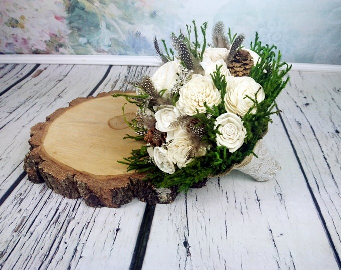 Medium ivory green brown rustic woodland wedding BOUQUET, Sola Flowers, guinea hen feathers, preserved cypress, bridal, bridesmaid, shell