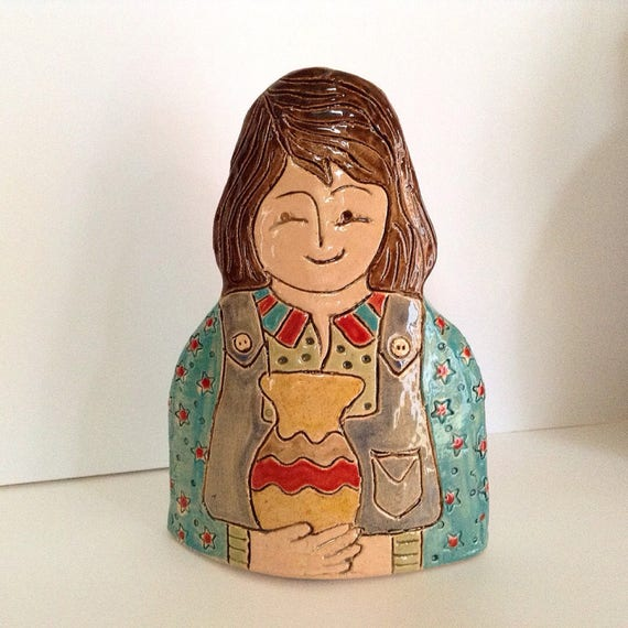 Girl with Pot.  Handmade ceramic bust, mini-bust, Colourful People, collectible, one of a kind