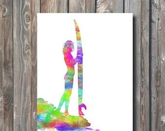 SALE PRINTABLE Surf Girl Wall Art-Printable Home Decor-Digital Wall Art Print-Printable Surfing Wall Art-Gift For Surfer-Instant Download-SG