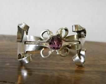 Vintage Silverware Fork Bracelet with Purple Crystal Bead
