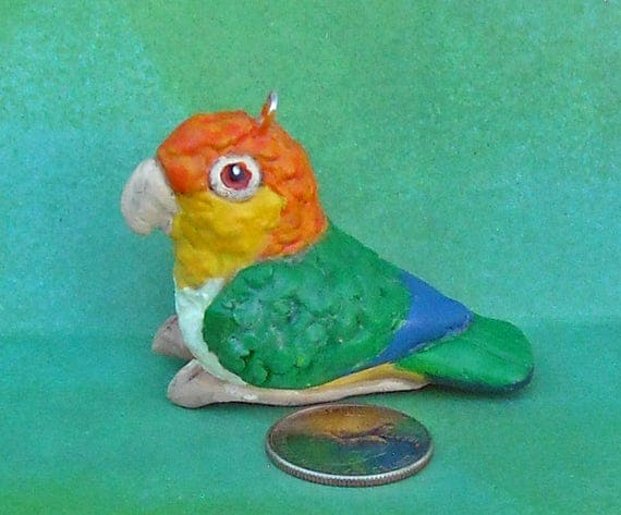 Hand-sculpted One-of-a Kind Sally Blanchard's Tongue-in-Beak Collectible Miniature White-bellied Caique Parrot Christmas Tree Ornament