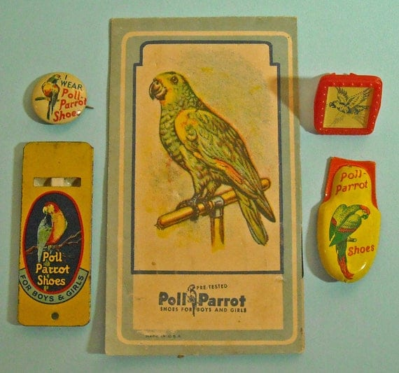 Poll Parrot Shoes 1950s Collectibles - button, whistle, needle package, parrot flying flash ring, clicker