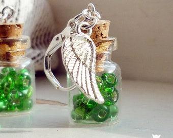 Irish Earrings, Celtic Earrings, Angel Wing Earrings, St Patrick's Day, Glass Bottle Earrings, Bottle Jewelry, Green Beads Earrings