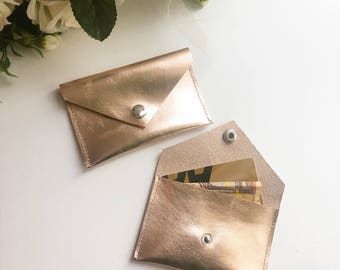 Rose gold leather coin pouch / rose gold  leather purse / leather card holder envelope shape / small leather wallet