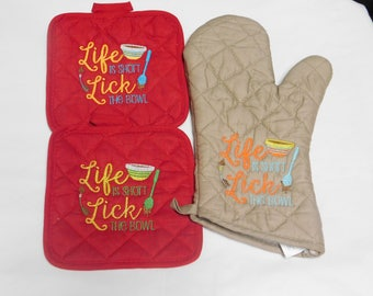 Embroidery Life is Short.. Pot Holder Set