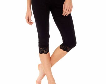 no one size black leggings with lace stress