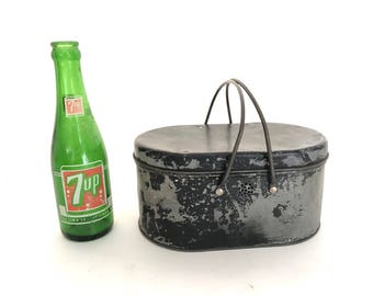 Lunch Box - Vintage Metal Lunch Box with Metal Handles - Oval Lunch Box - Repurpose Tin - Industrial Decor - Prop - Tin - Lunchbox - Storage
