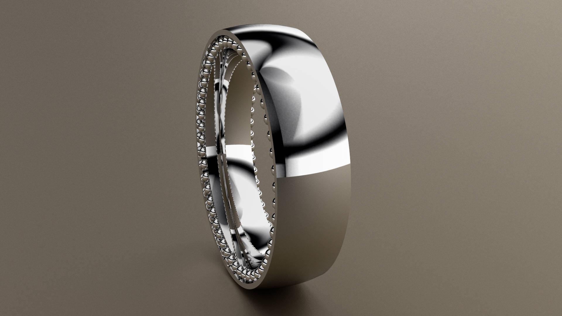 White Gold 6mm Mens Wedding Band Hidden Beading Design 14kt Gold
