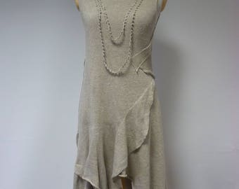 Sale. Handmade taupe dress, L size. Made of pure linen, only one sample.