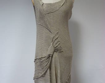 Boho artsy taupe dress, L size. Made of pure linen.