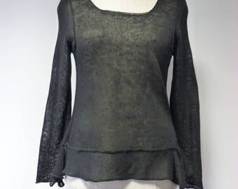 Casual transparent  black linen sweater, L size.