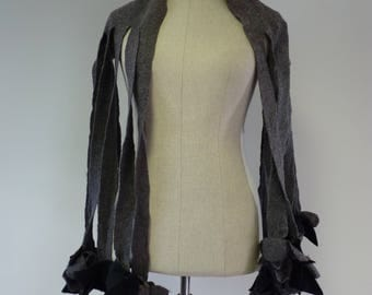 The hot price. Awant garde grey wool scarf. Perfect for gift.
