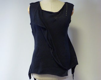 Special price. Deep blue cotton top, M size.