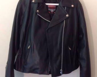Genuine Leather Motorcycle Jacket- Black-Large