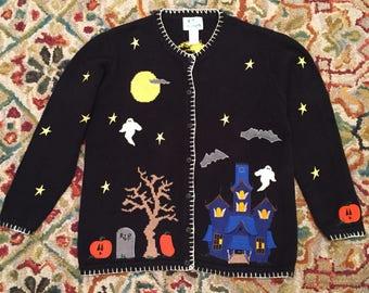 Ugly Halloween Sweater Cardigan in Size Medium