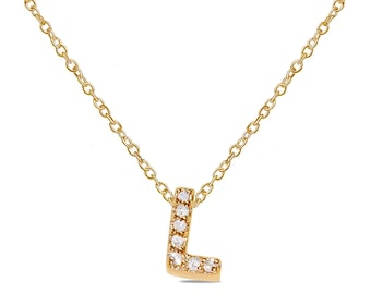 "Ladies .03CT Diamond Letter ""L"" Initiial Necklace Pendant in 10k Yellow Gold with Free Complementary 18"" Chain"