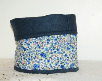 Navy Blue and cotton fleece neck warmer or Snood has blue flowers.
