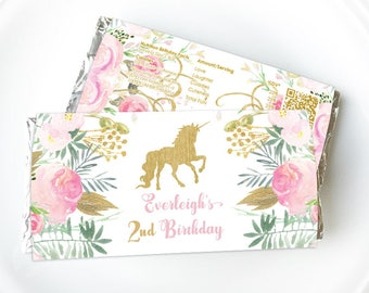 Unicorn Chocolate Wrapper, Unicorn Birthday Party, Pink Gold chocolate wrapper, Floral, Unicorn party, Printable choc wrapper, Hershey, Aldi