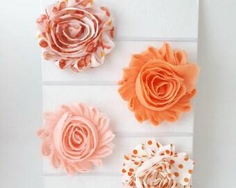 Shades of Peach Headband Set,Newborn Headbands,Peach Hair Bows, Peach Headbands,Ivory Headbands,Preemie Headbands,Baby Girl Headbands