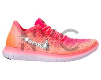 Women's Nike Free RN Flyknit 2017 Bright Mango Pink Swarovski Crystal Rhinestones Custom