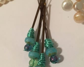 Turquoise green beaded bronze hair pins