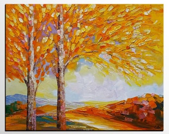 Living Room Canvas Art, Large Oil Painting, Oil Painting Abstract, Autumn Tree Landscape Painting, Abstract Art, Canvas Wall Art, Modern Art