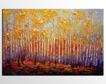 Birke Baum Kunst Lgemlde Benutzerdefinierte Malerei Grosse Wandkunst Abstrakte Leinwand