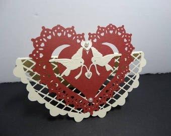 Heart lace ivory mesh backed