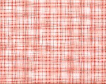 Tissu coton patchwork à carreaux mouchoir rose pêche