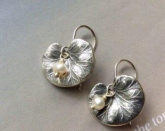Sterling Silver Lotus Leaf Earrings, Pearl Earrings, Leaf Earrings, Sterling Silver, Ear Wire, Nature Earrings