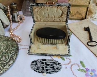 Edwardian Travelling Hair Brush & Mirror Set Cased Vanity Set Very Collectable