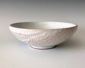 Modern handmade pottery serving bowl dessert bowl soup bowl white with carved exterior design and orange highlights Haight Pottery Company