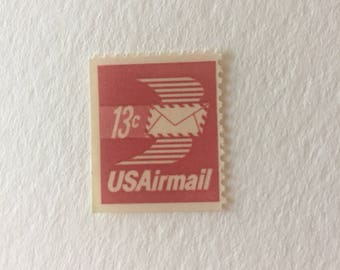 10 Vintage 13c US postage stamps - Red Airmail 1973 - theme wedding - unused