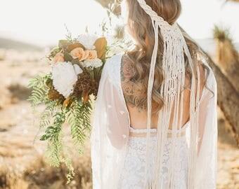 Boho wedding etsy macrame wedding veil boho wedding veil wedding headpiece wedding veil boho bride junglespirit Choice Image