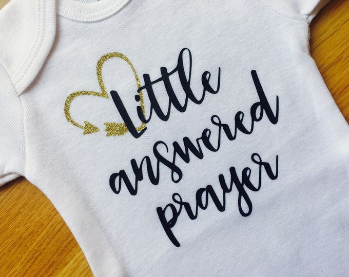 Rainbow Baby, Little Answered Prayer Onesie®, Coming Home Baby Outfit, Baby Shower Gift, Baby Announcement, Black & Gold Glitter