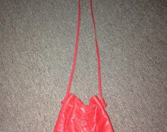 Red leather slouchy purse