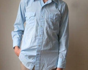 Vintage Mens Western Shirt M Medium SAND AND SAGE Pearl Snap Button Light Blue MShirt54