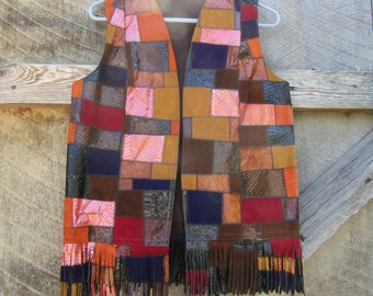 Vintage suede and faux leather patchwork vest with fringe Size Medium