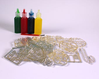 Glass Painting Christmas Decoration Set Includes Glass paint, Brush, Thread and Shapes
