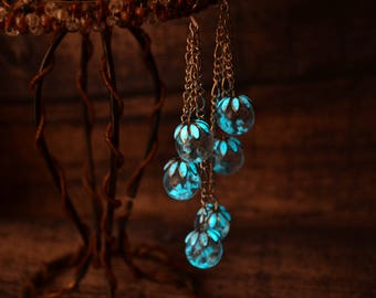 Glowing dangle earrings, globe earrings, fantasy earrings, fairy earrings