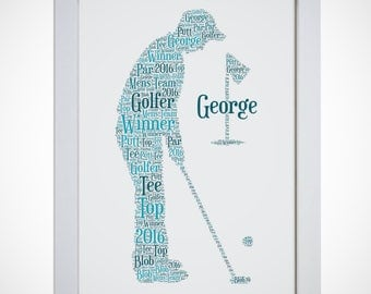 Personalised Golfer Picture Word Art Print Birthday Gift Mum Dad Daughter Son Friend Male Female