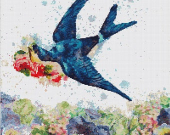 Vintage Blue Bird Cross Stitch Pattern