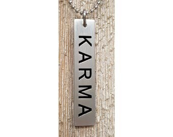 Karma Pendent w/ 24 inch 2.7mm ball chain  :  Engraved & Polished Pendent (not hand stamped)