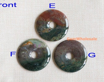 50mm Indian agate round donut pendant, multi color natural agate donut pendant, big size stone round donut, 1pc
