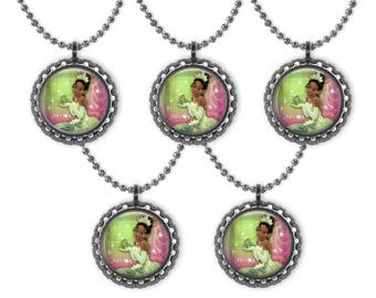 5 Disney TIANA Princess & the Frog 3D Bottle Cap Necklace Birthday Party Favors #2