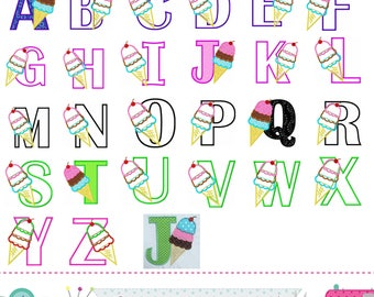 Ice cream cone letters applique,Ice cream Monograms applique,Fonts,Ice cream cone,Alphabet design,Summer Letters design,Birthday Letters.