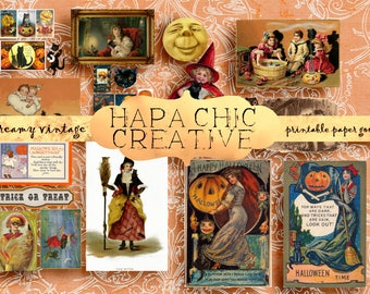 Vintage Halloween  Ephemera Pack  Printable Halloween  Graphics  Postcards  Digital Clipart Clip Art Collage Art  Halloween Printables